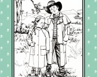Folkwear Child's Australian Drover Coat / Duster Sewing Pattern # 138 & Knitted Sweater Pattern Sizes 6X-14