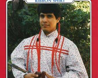 Missouri River Cherokee Indian Man's Ribbon Shirt Sewing Pattern size S-XXL Native American