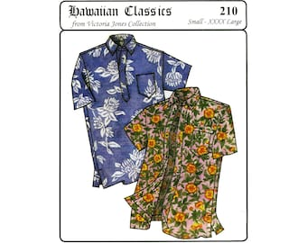 Men's Classic Hawaiian Businessman's Aloha Shirt S-4XL - Victoria Jones Sewing Pattern # 210