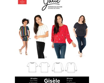 Jalie Gisele Round Neck Blouse Sewing Pattern 3905 - Women's XS-2XL & Girls' 2-13