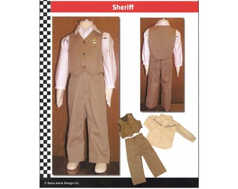 Toddler Boys' Western Shirt, Vest & Pants Sheriff / Cowboy Costume sizes 1T-4T Dana Marie Sewing Pattern # 1302