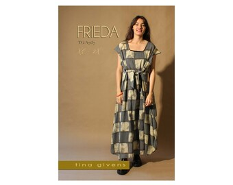 Tina Givens Frieda Long Dress w/Cap Sleeves and Tie Belt sizes XS-2X Sewing Pattern # TG-A7157