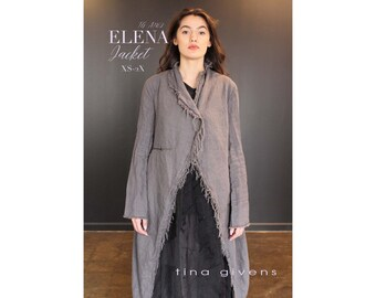 Tina Givens Elena Long Jacket w/Asymmetrical Front sizes XS-2X Sewing Pattern # TG-A7162