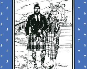 Men's Folkwear Scottish Kilts, Prince Charlie Jacket & Vest Sewing Pattern 152, Knitted Argyle Socks, Women's Skirt and Knit Vest Pattern