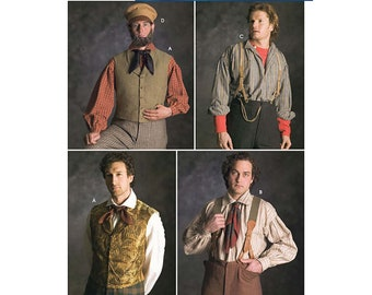 Men's Civil War Victorian Vest, Suspenders & Mechanic's Hat Costume Accessories - Simplicity Sewing Pattern # 5037