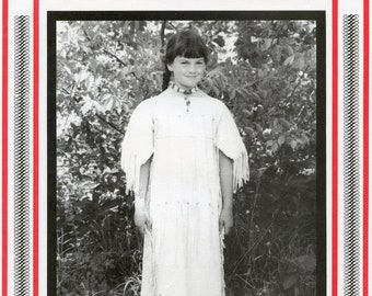 Girl's Leather Indian Dress sizes 4-12 Eagle's View Sewing Pattern # 77 - Native American Plains Indian Style