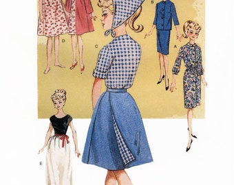 "Retro 1963 era 11.5"" Fashion Doll Clothing Pattern - Dress, Skirt, Jacket, Blouse, Nightgown & Robe - Butterick 6965"