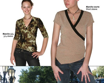 Jalie Crossover Top in 3/4 or Short Sleeve Sewing Pattern # 2449 in 22 Sizes for Women & Girls