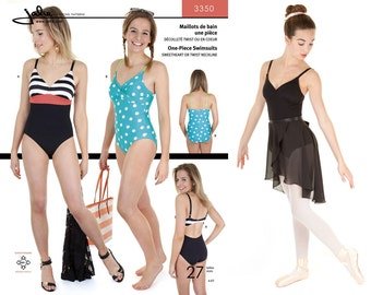 Jalie 1 Piece Swimsuit or Ballet Leotard w/Sweetheart or Twist Neckline Sewing Pattern #3350 Women & Girls