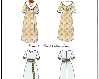 "1910's era Shawl Collar Dress & Lace Insertion Dress for 18"" Doll - Hint of History Sewing Pattern #302"