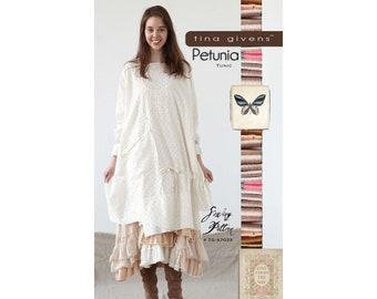 Tina Givens Petunia Tunic / Shirt Dress sizes XS-2X Sewing Pattern # 7033