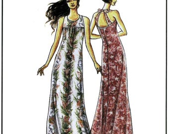 Easy, Elegant Hawaiian Long Dress sizes 4-18 - Victoria Jones Collection Sewing Pattern # 309 Maxi Dress, Resort wear