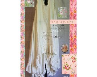 Tina Givens Zelda Sleeveless Ruffle Tunic / Slip & Bloomers Sizes XS-2X Sewing Pattern # TG-A3124