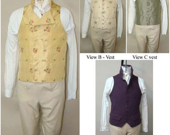 Men's Late Georgian 1795-1817 Vest sizes 34-56 - Laughing Moon Sewing Pattern # 125