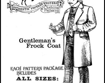 Buckaroo Bobbins Gentleman's Frock Coat Sizes 34-60 Sewing Pattern Vintage Western Clothing Style