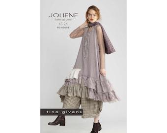 Tina Givens Joliene Raw Magic Ruffle Slip Dress sizes XS-2X Sewing Pattern # 7001