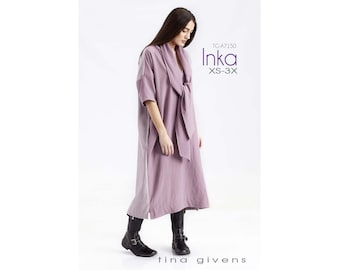 Tina Givens Inka Shift Dress with Scarf sizes XS-3X Sewing Pattern # 7150