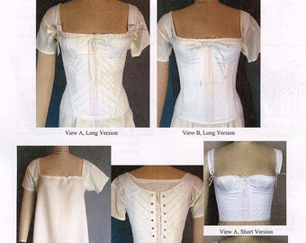Ladies' Regency and Romantic era 1805-1840 Corset and Chemise sizes 4-40 Laughing Moon Sewing Pattern 115