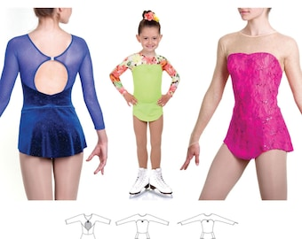 Jalie 3465 Carmen Seamless Sleeve Skating Dress with Keyhole Back Sewing Pattern in 22 Sizes for Women & Girls