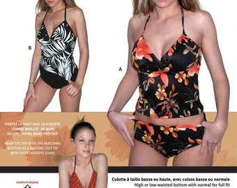 Jalie Tankini Halter Top & High-Waist Bottom 2 piece Swimsuit Sewing Pattern #2447 Women, Girls