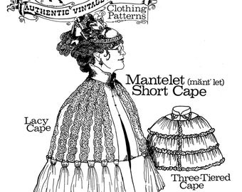 Ladies' Victorian 1830s-1890s Mantelet Short Cape - Buckaroo Bobbins Sewing Pattern