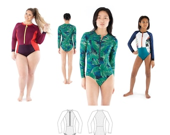 Jalie 4013 Zoe Long Sleeve Front-Zip Swimsuit Sewing Pattern in 28 Sizes for Women & Girls