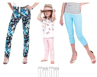 Jalie Stretch Pull-On Jeans & Cropped Pants  Sewing Pattern 3461 Eleonore - 27 Sizes for Women and Girls