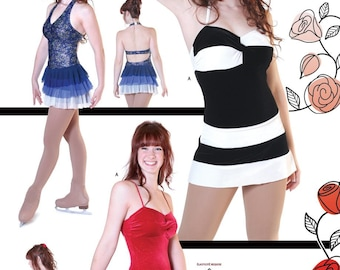 Jalie V Halter or Twist Figure Skating Dress Sewing Pattern #3028 in 22 Sizes Women & Girls