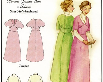 Ladies' 1910s Kimono Jumper Dress & Blouse sizes 6-24 - Hint of History Sewing Pattern # 102