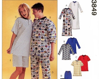 Misses', Men's, Teen Boys' Nightshirt, Tops, Pants & Shorts - Pajamas - McCall's 3849 Sewing Pattern