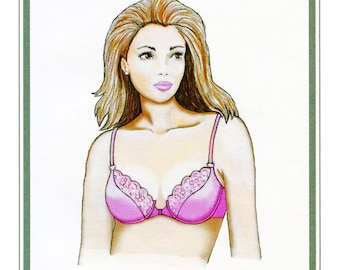 Lightly Padded Underwire Bra w/Front Closure size 32A-40C Elan Sewing Pattern # 540