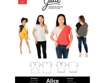 Jalie Alice V-Neck Blouse Sewing Pattern 3904 Women's XS-2XL & Girls' 2-13