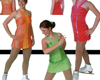 Jalie 2557 V Neck Figure Skating Dress w/Center Insert, Wide Straps & Attached Panties Sewing Pattern Women Girls Sizes
