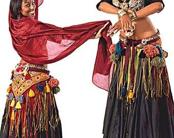 Folkwear American Tribal Style Belly Dancer Costume - Choli, Hip Shawl, Coin Bra, Ten-Yard Skirt & Pantaloons Sewing Pattern # 144