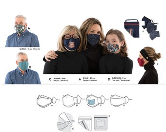 Jalie 4026 Flair Face Masks and Accessories Sewing Pattern for Children, Teens & Adults