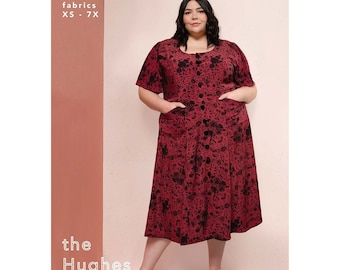 The Hughes Dress sizes XS-7X w/Button Front, Scoop Neck, A-line Skirt - Friday Pattern Company Sewing Pattern # 018