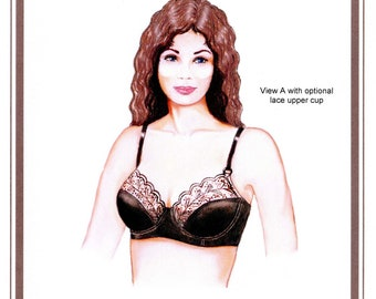 Softcup or Underwire Bra w/Back Closure size 32A-42DD Elan Sewing Pattern # 645