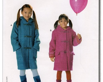 Burda 9728 Girls' Very Loose Fitting Hooded Coat sizes 4-12 Easy Sewing Pattern
