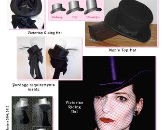Men's, Women's Arched Brimmed, Straight Sides Crown Hat Pattern - Victorian Riding, Top & Stovepipe Hat Sewing Pattern #20 by Lynn McMasters