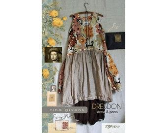 Tina Givens Dresdon Dress w/Back Overskirt & Pants sizes XS-3X Sewing Pattern # 3133