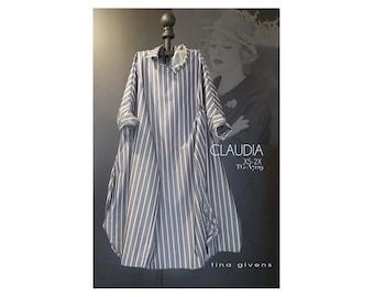 Tina Givens Claudia Oversized Dress sizes XS-2X Sewing Pattern # 7129