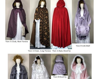 Ladies' Georgian/Regency Cloak with Hood, Cape with Optional Hood in 2 Lengths, Muff & Muff Cover - Laughing Moon Sewing Pattern # 135