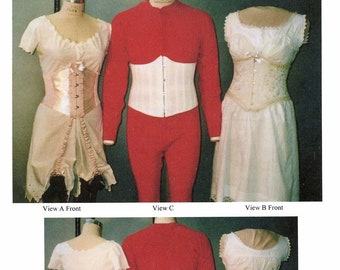 Ladies' and Men's Under Bust Corset - Laughing Moon Sewing Pattern # 113 Misses sizes 4-36, Men's sizes 22-64 - 1899-1909 era
