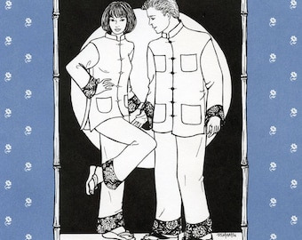 Folkwear Chinese Pajamas Jacket & Pants Sewing Pattern 145 Evening Outfit option in Women's and Men's Sizes