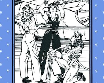 Folkwear Rosie the Riveter WWII 1940s Overalls, Shirt, Slacks Sewing Pattern #240 size 6-20