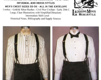Men's Victorian & Edwardian Shirts 1845-1920 era Sizes 32-56 Laughing Moon Sewing Pattern 107