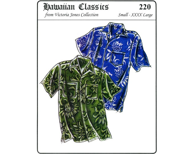 Featured listing image: Men's Loose-fit, Casual Hawaiian Aloha Shirt size S-4XL Victoria Jones Sewing Pattern #220