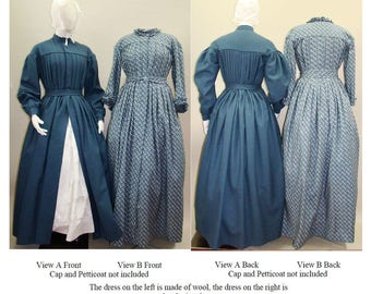 Pleated Wrapper, Work-Dress, Morning Gown or Maternity Dress sizes 6-34 Laughing Moon Sewing Pattern #120 Victorian, Civil War era Costume