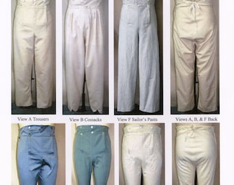 Men's Regency Trousers 1790-1830 era Pants in 6 Views - Laughing Moon Sewing Pattern # 131