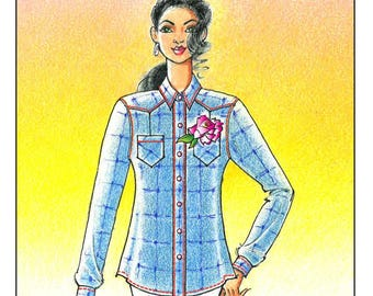 Ladies' Waimea Ranch Shirt sizes S-2X - Victoria Jones Collection Sewing Pattern # 110